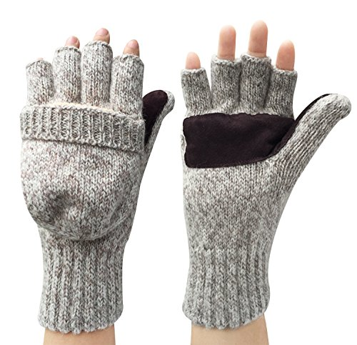Korlon Wool Knitted Convertible Fingerless Gloves with Mitten Cover, Beige (Thermal Fleece Mittens compare prices)