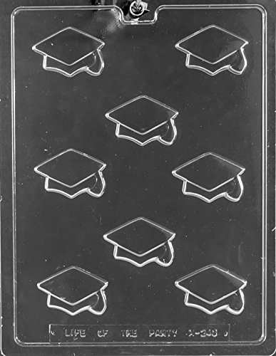 CybrTrayd Bite Size Graduation Caps Chocolate Candy Mold with Exclusive Molding Instructions (3 Pack), Clear
