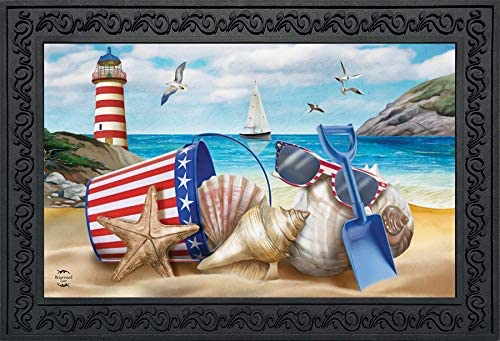 Briarwood Lane Sea to Shining Sea Patriotic Doormat Lighthouse Indoor Outdoor 18 x 30