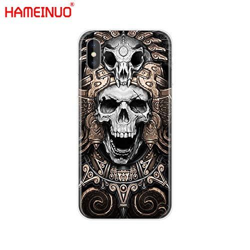 (MISC Black Grey Grim Reaper iPhone X Case Red White Skull Themed XS Cover Smoke Undead Bones Skeleton Skulls Dark Cool Dead Zombie Scythe Grave Warrior Beast, Plastic )