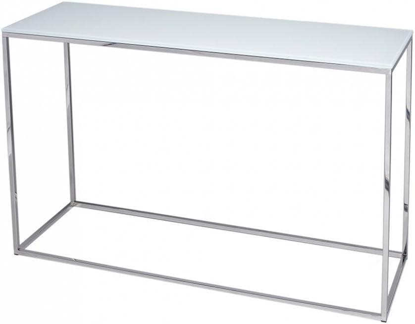 Gillmore Space Cristal Blanco y Plata Metal contemporáneo Mesa ...