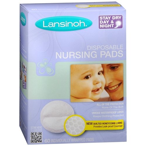 Lansinoh Stay Dry Disposable Nursing Pads, Number One Selling Breastfeeding Pad For Breastfeeding Mothers, Leak Proof Protection, Maximun Comfort and Discretion, 3 Packs of 60 Count (180 Count)