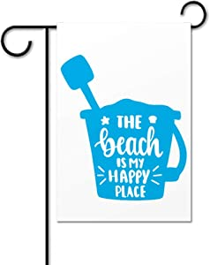 BYRON HOYLE Garden Flag, Beach is My Happy Place Outdoor Yard Flag,Summer Time Garden Flag,Vertical Double Sided,Farmhouse Yard Holiday Seasonal Outdoor Indoor Decor