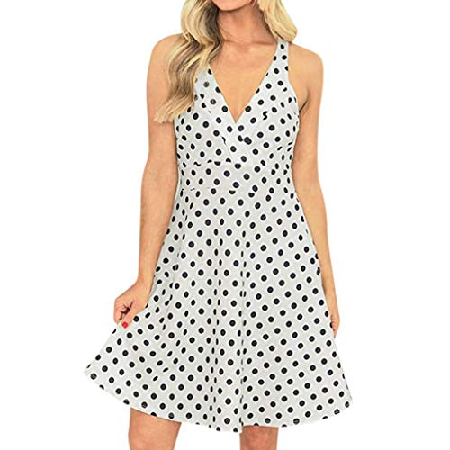 HP95 Women's Summer Sexy Tank Dress Polka Dots Print Halter Sleeveless V-Neck Vest Bollow Out Ruffle Holiday Party A-line Dress ()