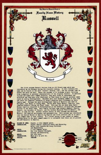 Russell Coat of Arms/Crest and Family Name History, meaning & origin plus Genealogy/Family Tree Research aid to help find clues to ancestry, roots, namesakes and ancestors plus many other surnames at the Historical Research Center Store (Crest Surname Family)