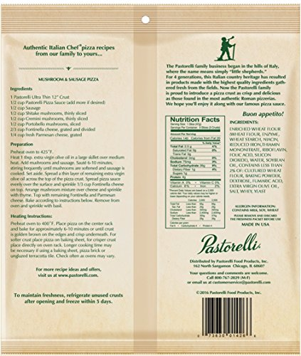 Pastorelli Ultra Thin & Crispy Pizza Crust, Traditional, 12-inch, 5-ct (Pack of 5) by Pastorelli (Image #1)