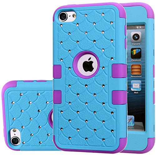 iPod Touch 5 Case,iPod Touch 6 Case,Auker Heavy Duty Shockproof Bling Mermaids Scales Dual Layer [Soft Silicon+Hard PC Shell] Hybrid Protective Case Cover for iPod Touch 5th/6th Generation (Blue-P) (Ipod Case Survivor)