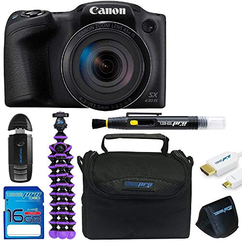 Canon Powershot SX430 (Black) + Tripod + 16GB Memory Card + Pixi-Basic Accessory Bundle