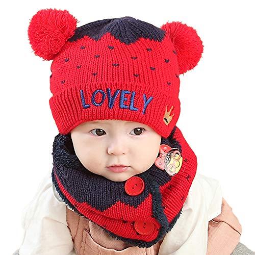 Unisex Kids Baby Winter Hat Infinity Scarf Set Newborn Cute Warm Knit Fleece Lined Beanie Hats with Fur Pom Pom Soft Crochet Neck Warmer Scarf Skull Cap for Toddler Infant Girls Boys 0-12 Months