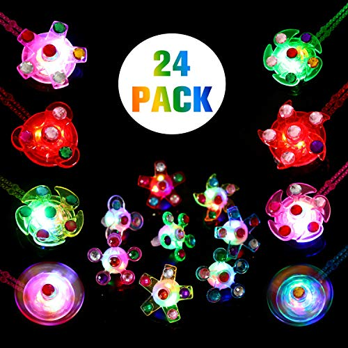 SCIONE Light Up Rings Glow Necklaces Party Favors for Kids Birthday 24 Pack Glow in The Dark Party Supplies Classroom Prizes Girls Boys Halloween Christmas LED Neon Toys -