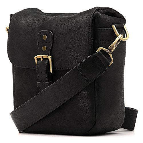 MegaGear Genuine Leather Camera Messenger Bag for Mirrorless, Instant and DSLR, Black (MG1328)