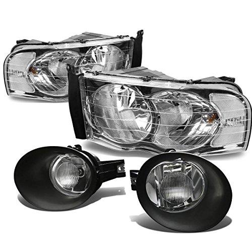 Dodge Ram Chrome Housing - For Dodge Ram Chrome Housing Headlight+Clear Lens Bumper Fog Light - 3rd Gen DR/DH/D1/DC/DM