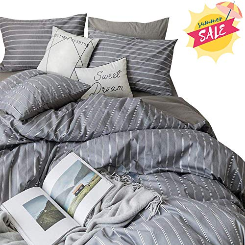 AMWAN Luxury Grey Striped Bedding Set Full Queen Soft Cotton Hotel Duvet Cover Set Modern Men Boys Bedding Collection 3 Piece Reversible Comforter Cover Set 1 Duvet Cover with 2 Pillowcases Queen