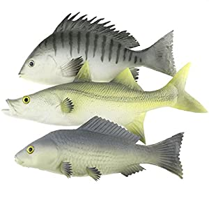 Gresorth 3 Pack Artificial Black Carp Striped Bass Snapper Fake Fish Home Party Decoration - 9 inch 1