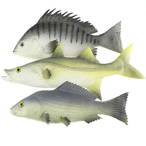 Gresorth 3 Pack Artificial Black Carp Striped Bass Snapper Fake Fish Home Party Decoration - 9 inch