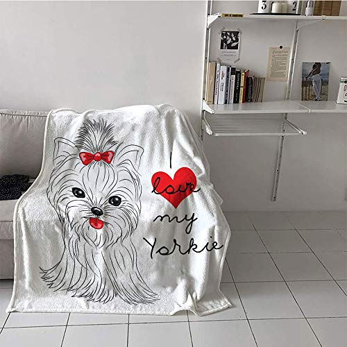 Khaki home Children's Blanket Lightweight Print Digital Printing Blanket (30 by 50 Inch,Yorkie,Love My Yorkie Cute Terrier with its Tounge Out Adorable Yorkshire Terrier,Black White Red