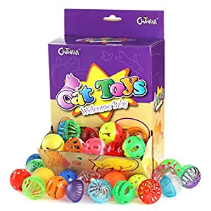 Chiwava 48 Pack Plastic Noisy Cat Toy Balls with Bell Kitten Chase Toy 8 Types Assorted Color Size 42