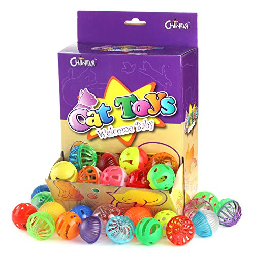 (Chiwava 48 Pack Plastic Noisy Cat Toy Balls with Bell Kitten Chase Toy 8 Types Assorted Color Size)