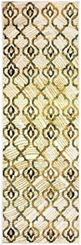 Superior Brighton Collection Area Rug, Chic Geometric Lattice Pattern, 10mm Pile Height with Jute Backing, Affordable Contemporary Rugs – Cream, 2 7 x 8 Runner