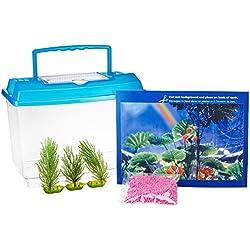 Penn Plax Goldfish Betta Fish Bowl With Decorations Plastic 1.25 Gallon Bowl With Lid