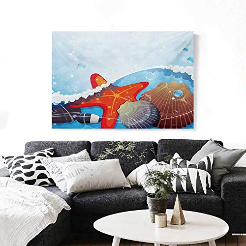 BlountDecor Starfish Canvas Wall Art for Bedroom Home Decorations Foaming Ocean Waves Graphic with Scallops and Seastar and Pebble Stones Bubbles Art Stickers 48