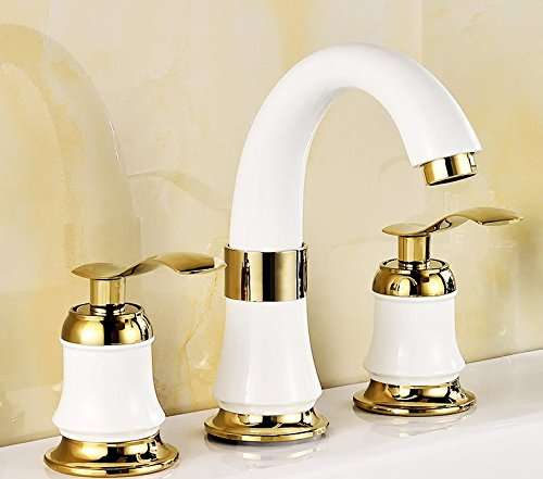 SCLOTHS Bathroom Basin Sink Mixer Tap Faucet Modern Copper Hot and Cold Three-Hole Basin gold