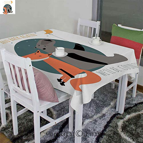 Dinner Picnic Table Cloth Home Decoration Assorted Size,Bear and Fox in Love Counting Stars at Night Animal Birthday Print Decorative(52