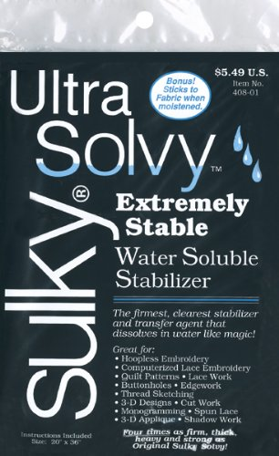 Water Stabilizer Solvy Ultra Soluble (Sulky Ultra Solvy Water Soluble Fabric Stabilizer, 19-1/2 by 36-Inch)