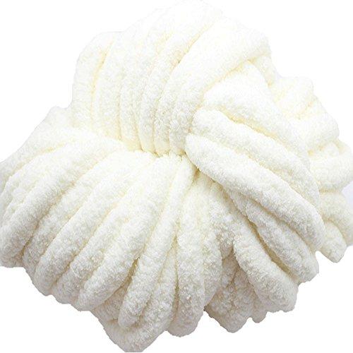 - Chenille Chunky Knit Yarn,Chunky Knit Yarn,Arm Knitting,Giant Bulky Knit Yarn,Hand Knitting Yarn,Chunky Blanket Yarn (1kg, White)