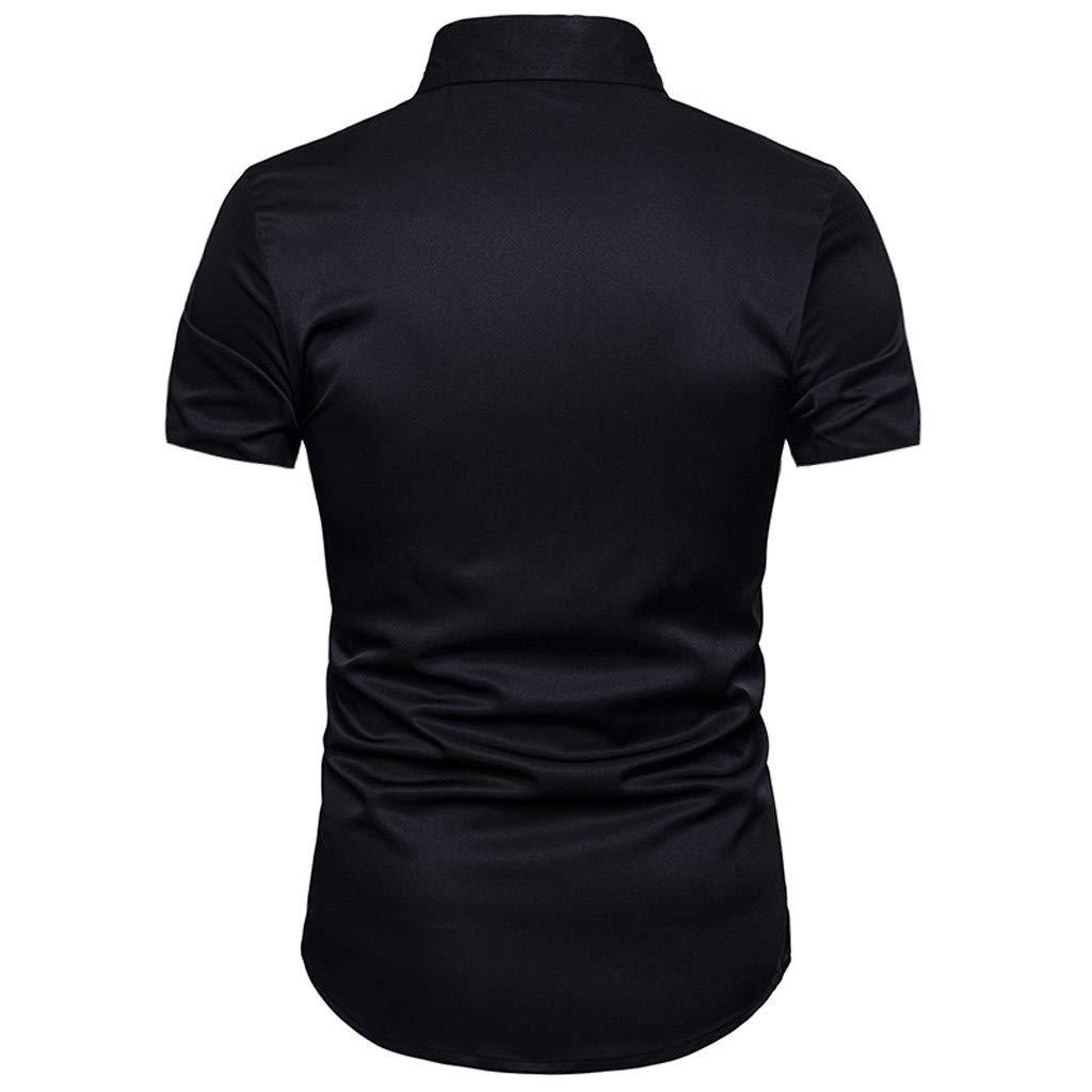 Mr.Macy Fashion Mens Summer Print Slim Fit Shirt Formal Short Sleeve Shirts Casual Tops