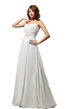 Kimgala Womens Strapless A Line Backless White Evening Dresses Elegant Beaded Vestidos De Festa