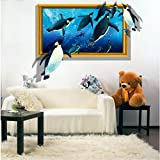 Best Wall Stickers For Bedroom Sofas - EWQHD 3D Stereoscopic Penguins for Kids Rooms Living Review
