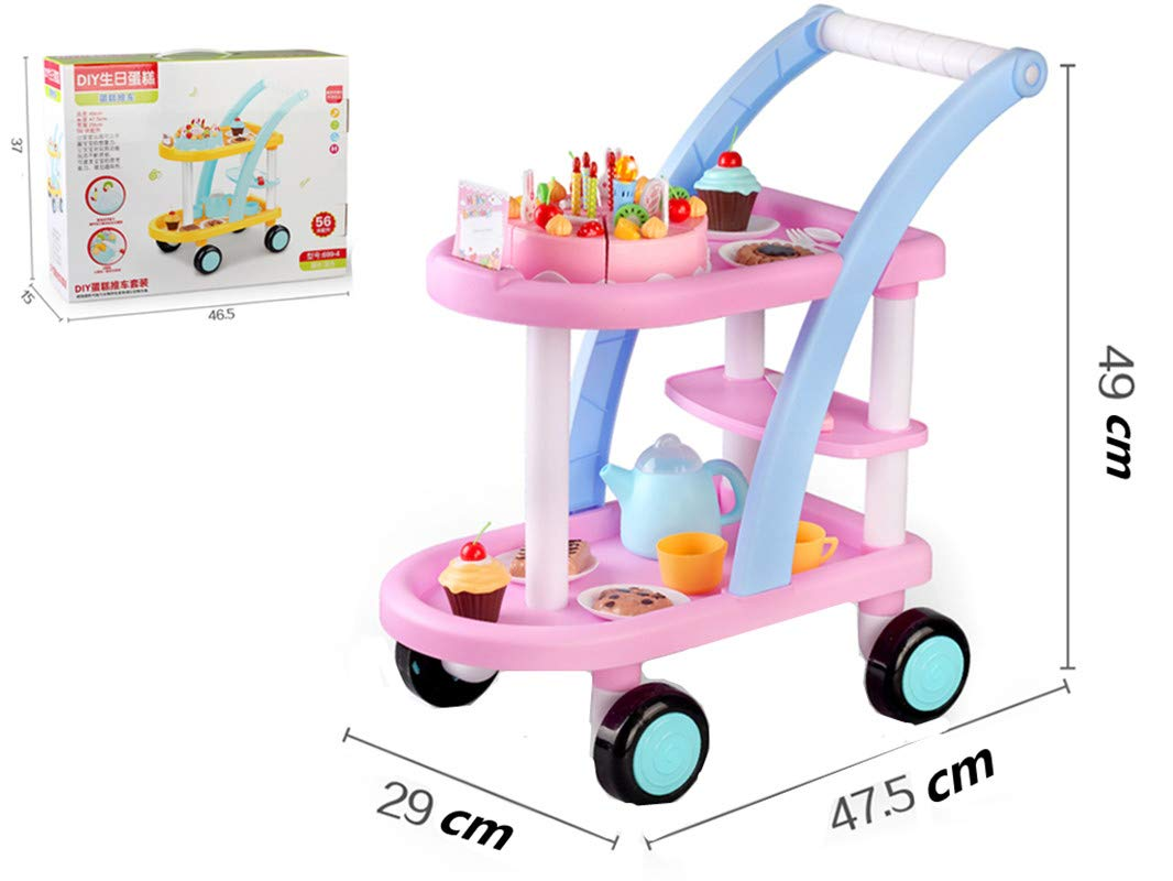 KKING Birthday Party Cake Play Cart Set -Birthday Gift Children's Day Gift Play Food Cake Toy Set DIY Pretend Cutting Cake Toys 56 Pieces for 3+ Kids (Flashing Candle Included) by KKING (Image #5)