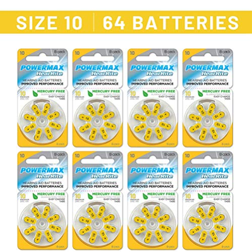 Powermax Size 10 Hearing Aid Batteries, Yellow Tab, Long Lasting, Made In the USA, 64 Count