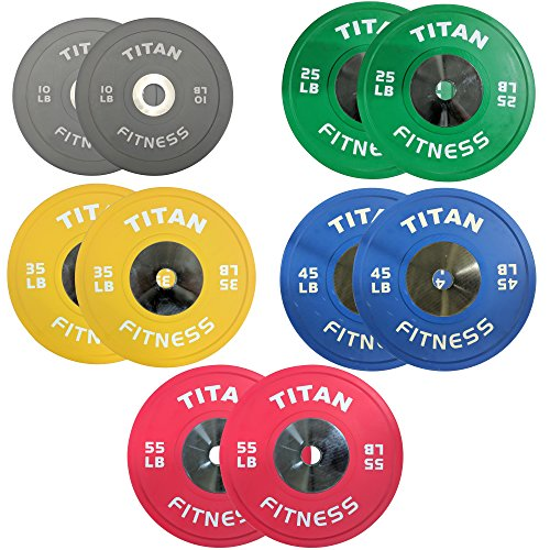 340 LB Set of Titan Color Elite Olympic Bumper Plates