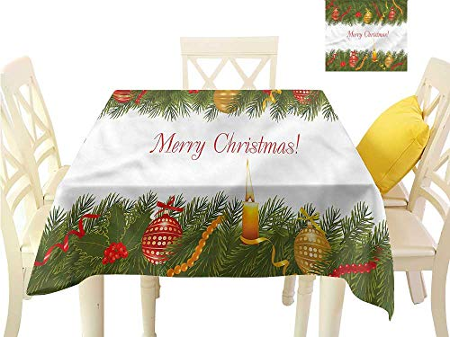 - WilliamsDecor Waterproof Table Cloth Christmas,Tree Candle Greeting Dining Table Cover W 60
