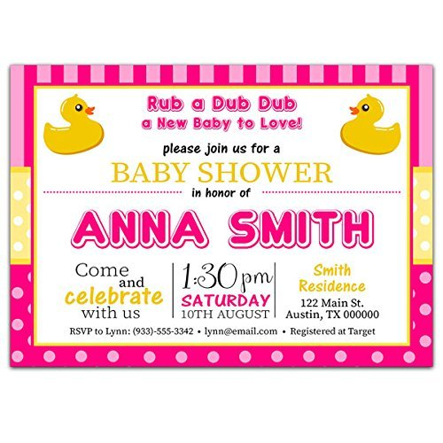 Pink and Yellow Rubber Ducky Baby Shower Party Invitations ()