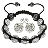 Gem Stone King Fully Iced Out Hip Hop White Disco Pave Ball Adjustable Bracelet & Earrings Set