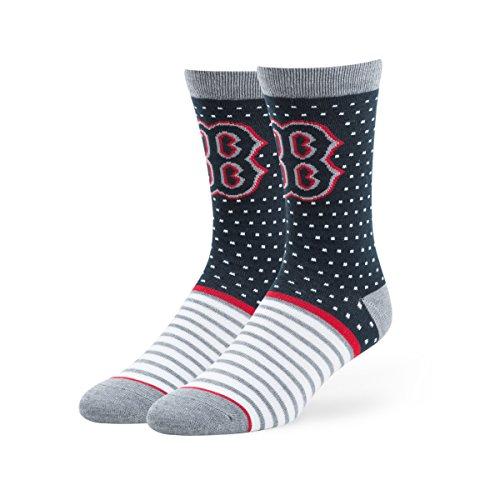 MLB Boston Red Sox Men's Willard Flat Knit Casual Dress Crew Socks , Large, Navy