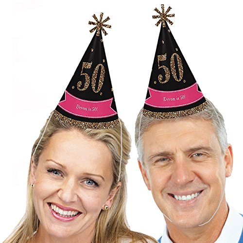 Custom Birthday Hat - Custom Chic 50th Birthday - Pink, Black and Gold - Personalized Cone Birthday Party Hats for Kids and Adults - Set of 8 (Standard Size)