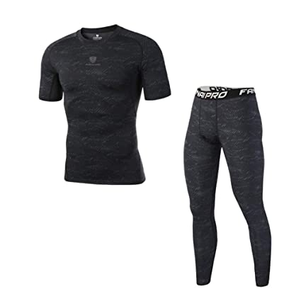 dc002d52baa74 UY Men Two Pieces Compression Running Set Men Gym Fitness Sportswear Tights  Jogging Suits