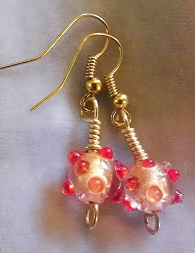 Czech lampwork bead earrings with 24k gold pieces