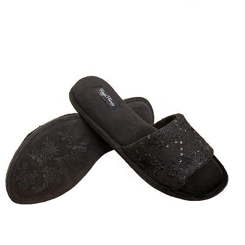 e086cc79b Real Fancy Women's Memory Foam Soft Velvet Open Toe House Slippers Comfort  Non-Slip Slip