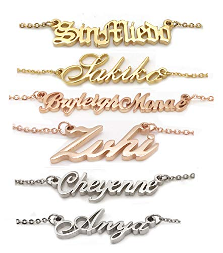 AOLO Personalized Name Necklace Initial Pendant Necklace Stainless ()