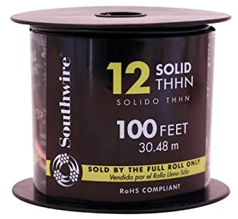 Building Wire, THHN, 12 AWG, Black, 100ft