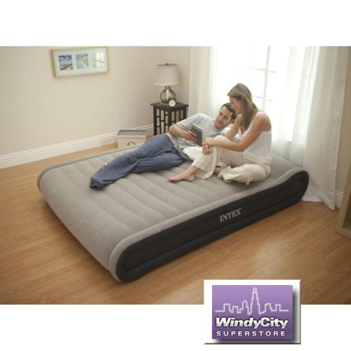Intex Deluxe Mid-Rise Pillow Rest Airbed Kit with Handheld AC Pump, Queen, Beige, Outdoor Stuffs