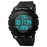 Bozlun Men's Digital Watch with Pedometer Stopwatch Waterproof LED Display Military Sport Wrist Watch