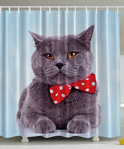 Cat Shower Curtain by Decorations Tuxedo Gray Scottish Fold Theme with Red White Polka Dots Tie Bow Baby Blue Fun Home Decor Design Ideas Polyester Fabric Bathroom Set Grey Gray Blue 108 x 72