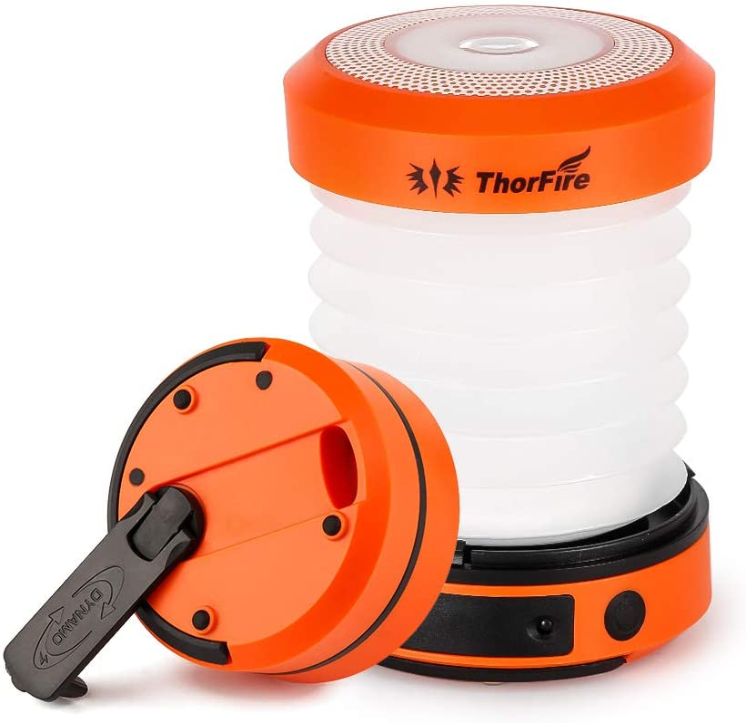 ThorFire Lámpara Camping LED USB Recargable, LED Camping Farol 125LM, Linterna Camping Plegable Carga Manualmente/USB, Ligero e Ideal para Toldo, ...