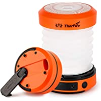 ThorFire LED Camping Lantern Lights Hand Crank USB Rechargeable Lanterns Collapsible Mini Flashlight Emergency Torch…